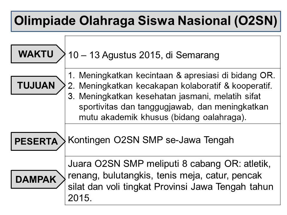 Olimpiade Olahraga Siswa Nasional (O2SN) 10 – 13 Agustus 2015, di Semarang 1.Meningkatkan kecintaan & apresiasi di bidang OR. 2.Meningkatkan kecakapan