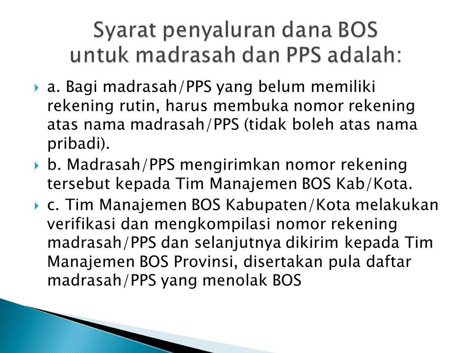  Penyaluran dana BOS dalam bentuk uang melalui Tim Manajemen BOS Provinsi/ Kab / Kota ke Madrasah/PPS hanya dilakukan untuk madrasah swasta, sedangkan untuk madrasah negeri dana BOS sudah teranggarkan dalam DIPA masing-masing satker.