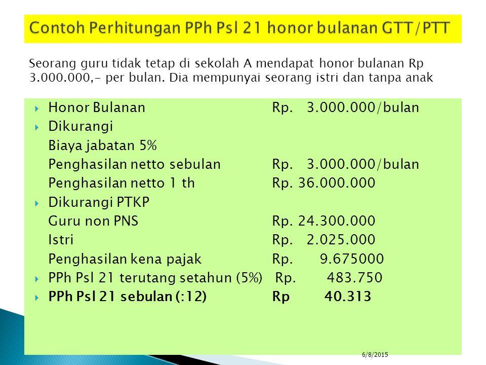  Pembelian segala jenis barang dari dana BOS dibebaskan dari PPh pasal 22 (negeri dan swasta)  Honor GTT/PTT dipotong 5% jika lebih dari 2.025.000/bulan setelah dipotong PTKP  Madrasah swasta hanya diwajibkan memungut dan menyetor pajak dari honor kegiatan (PPh pasal 21), sedangkan untuk PPh Pasal 22 atau PPN hanya diwajibkan pada madrasah negeri  Setiap honor kegiatan dikenakan PPh Pasal 21:  PNS gol.