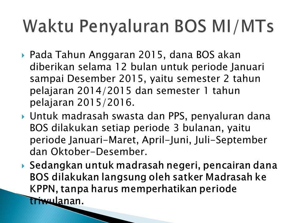  Besar biaya satuan BOS yang diterima oleh madrasah/PPS, dihitung berdasarkan jumlah siswa dengan ketentuan:  1) Madrasah Ibtidaiyah/PPS Ula : Rp. 8