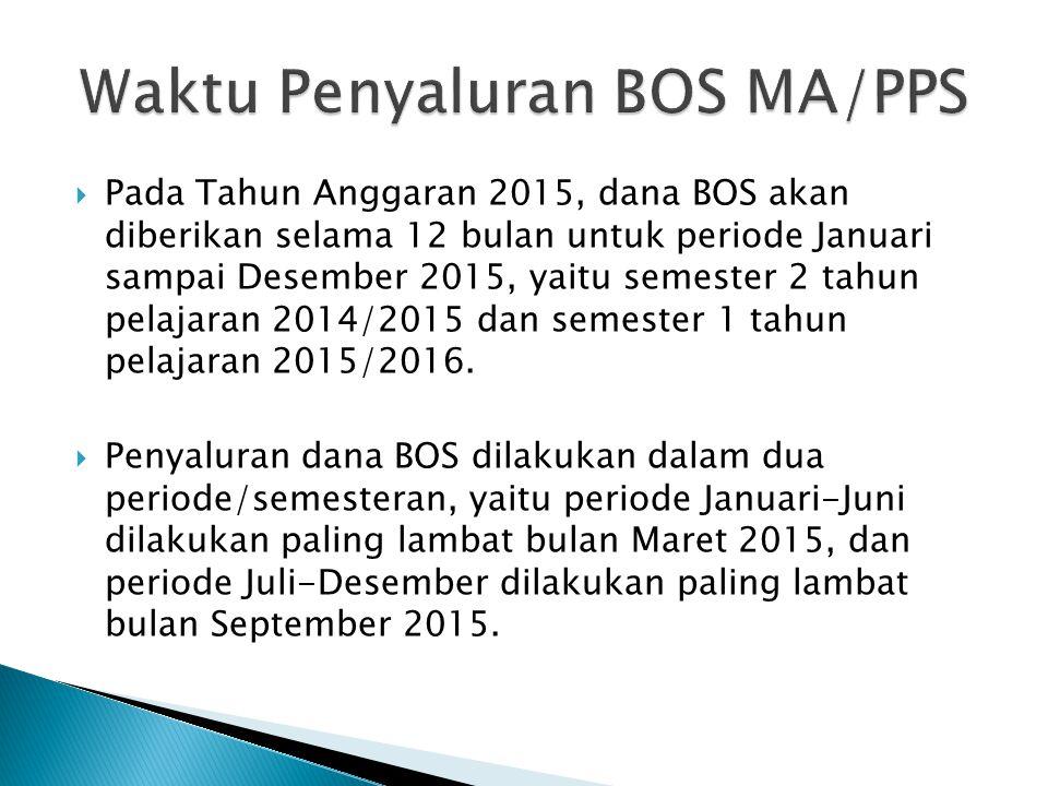  Pada Tahun Anggaran 2015, dana BOS akan diberikan selama 12 bulan untuk periode Januari sampai Desember 2015, yaitu semester 2 tahun pelajaran 2014/2015 dan semester 1 tahun pelajaran 2015/2016.