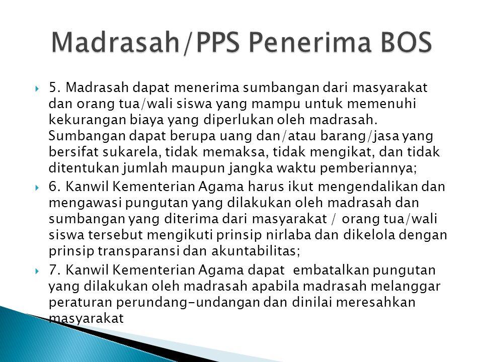  1. Semua madrasah negeri dan swasta yang telah mendapatkan izin operasi wajib menerima program BOS; bagi madrasah yang menolak BOS harus diputuskan
