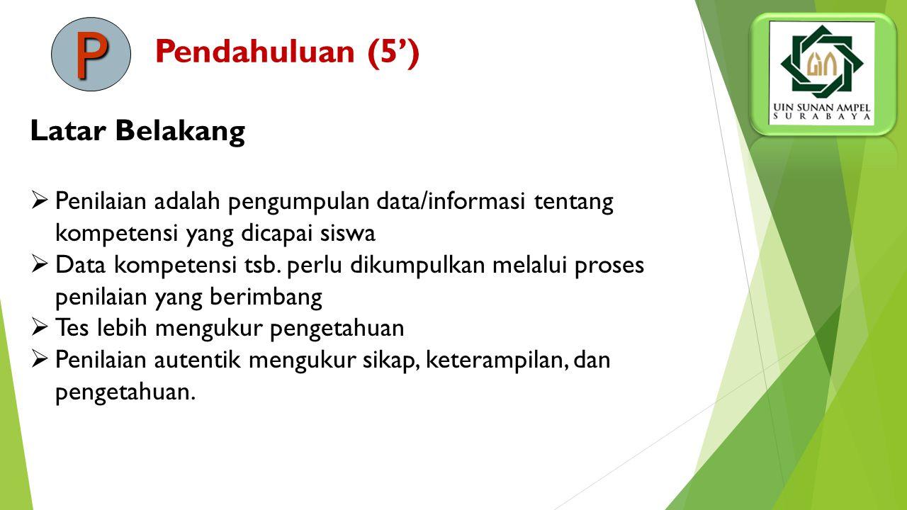 Pendahuluan (5') Latar Belakang  Penilaian adalah pengumpulan data/informasi tentang kompetensi yang dicapai siswa  Data kompetensi tsb.