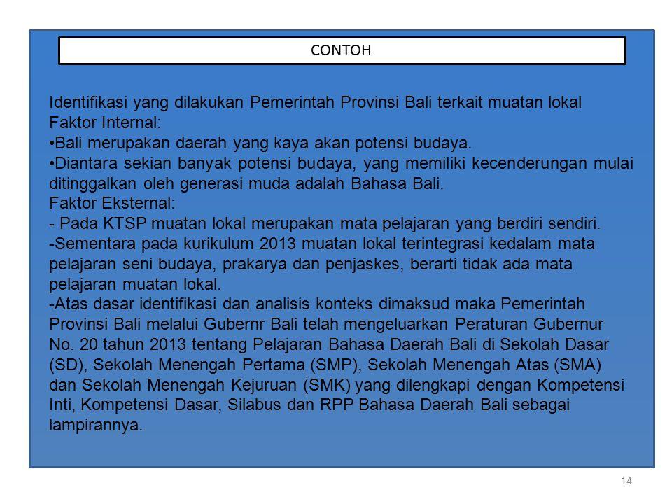 14 CONTOH Identifikasi yang dilakukan Pemerintah Provinsi Bali terkait muatan lokal Faktor Internal: Bali merupakan daerah yang kaya akan potensi budaya.