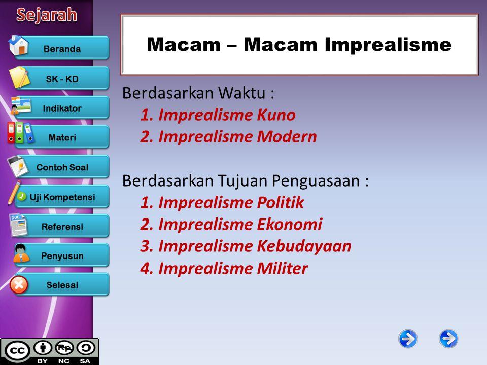 Macam – Macam Imprealisme Berdasarkan Waktu : 1. Imprealisme Kuno 2. Imprealisme Modern Berdasarkan Tujuan Penguasaan : 1. Imprealisme Politik 2. Impr