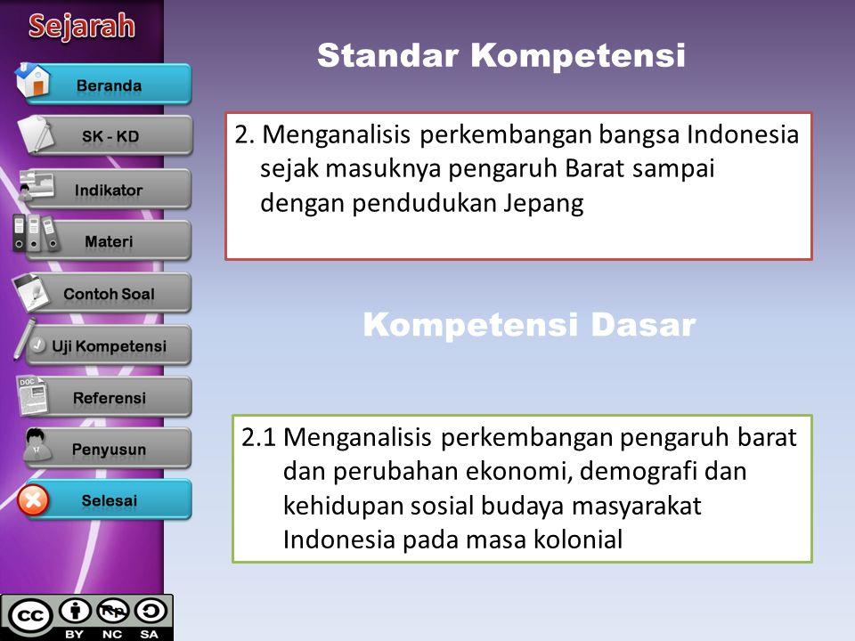 Standar Kompetensi 2. Menganalisis perkembangan bangsa Indonesia sejak masuknya pengaruh Barat sampai dengan pendudukan Jepang Kompetensi Dasar 2.1 Me