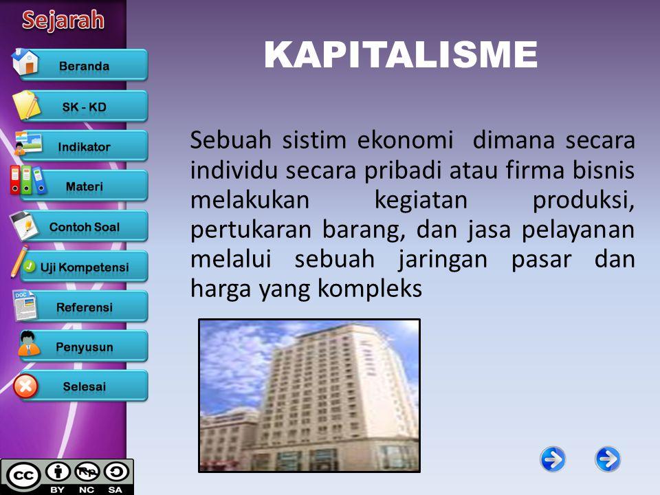 KAPITALISME Sebuah sistim ekonomi dimana secara individu secara pribadi atau firma bisnis melakukan kegiatan produksi, pertukaran barang, dan jasa pel