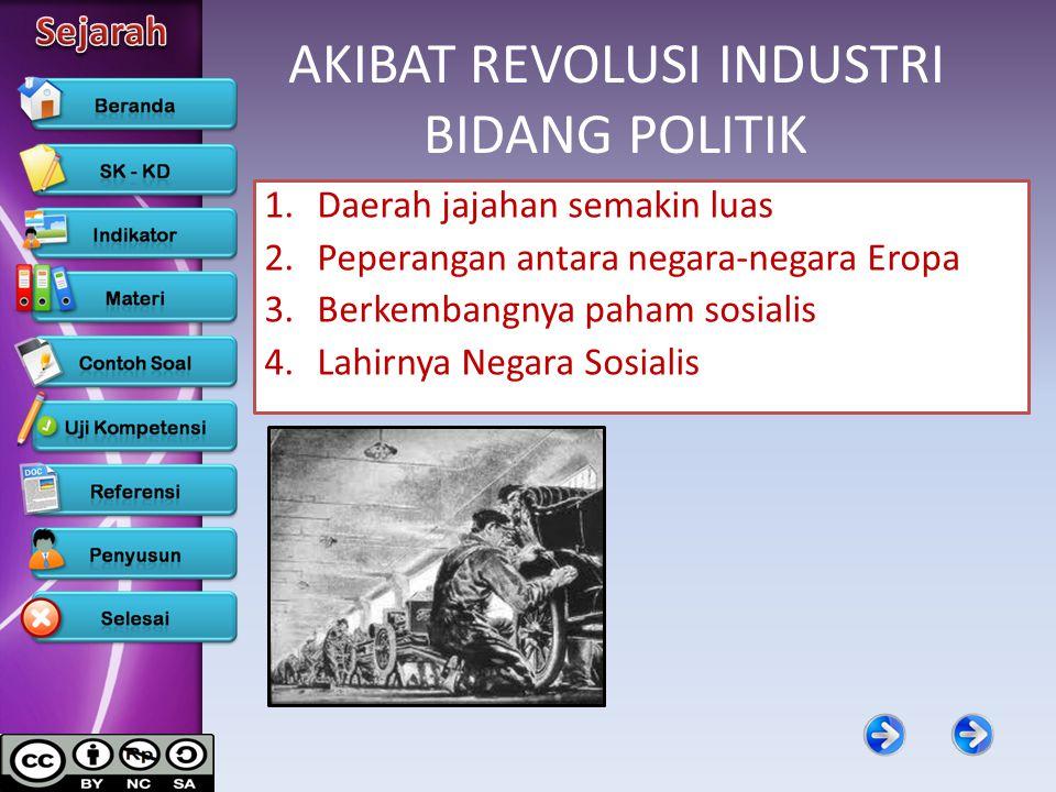 AKIBAT REVOLUSI INDUSTRI BIDANG POLITIK 1.Daerah jajahan semakin luas 2.Peperangan antara negara-negara Eropa 3.Berkembangnya paham sosialis 4.Lahirny