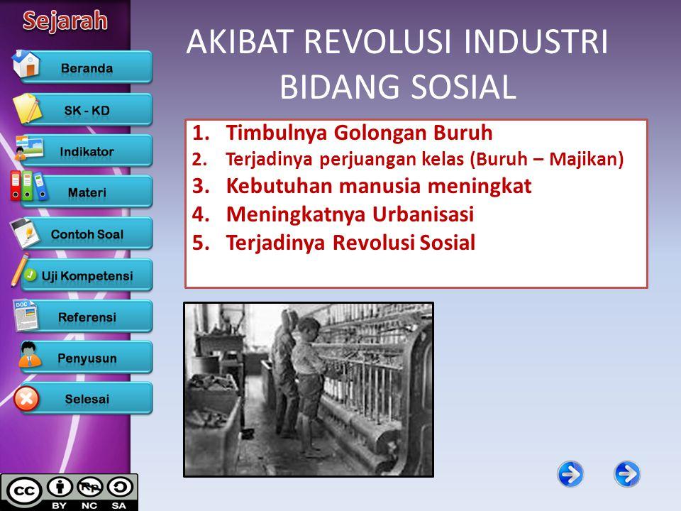 AKIBAT REVOLUSI INDUSTRI BIDANG SOSIAL 1.Timbulnya Golongan Buruh 2.Terjadinya perjuangan kelas (Buruh – Majikan) 3.Kebutuhan manusia meningkat 4.Meni