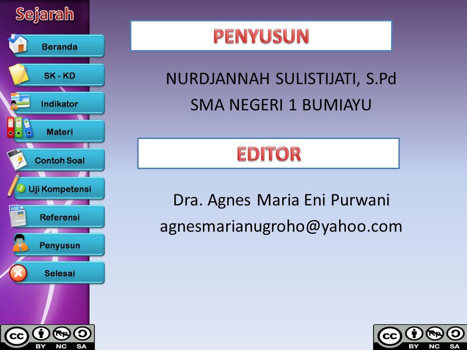 NURDJANNAH SULISTIJATI, S.Pd SMA NEGERI 1 BUMIAYU Dra. Agnes Maria Eni Purwani agnesmarianugroho@yahoo.com