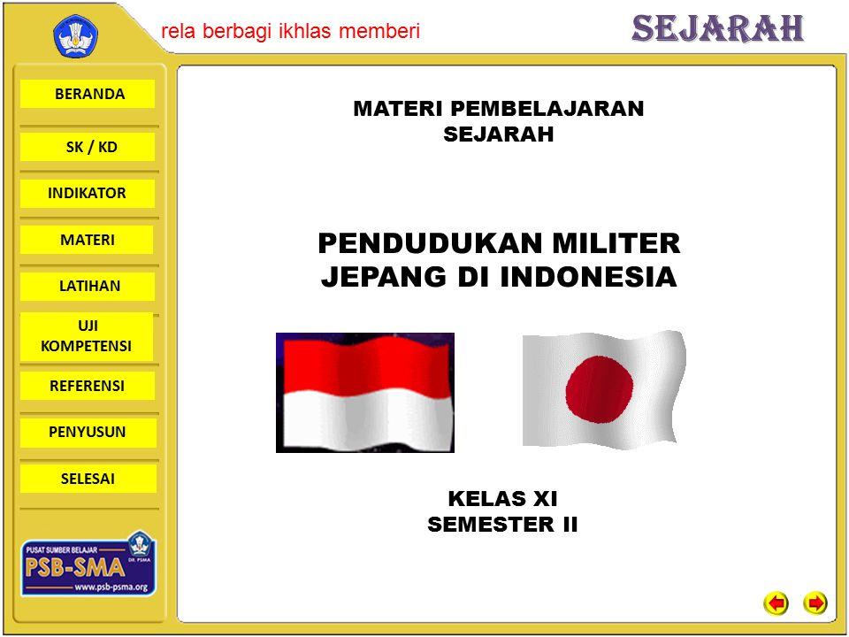 BERANDA SK / KD INDIKATORSejarah rela berbagi ikhlas memberi MATERI LATIHAN UJI KOMPETENSI REFERENSI PENYUSUN SELESAI MIAI (Majelis Islam A'la Indonesia) Oktober 1943, MIAI dibubarkan oleh pihak Jepang dan diganti dengan Masyumi (Majelis Syuro Muslimin Indonesia) Tokoh: K.