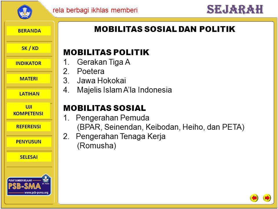 BERANDA SK / KD INDIKATORSejarah rela berbagi ikhlas memberi MATERI LATIHAN UJI KOMPETENSI REFERENSI PENYUSUN SELESAI MOBILITAS SOSIAL DAN POLITIK MOBILITAS POLITIK 1.Gerakan Tiga A 2.Poetera 3.Jawa Hokokai 4.Majelis Islam A'la Indonesia MOBILITAS SOSIAL 1.