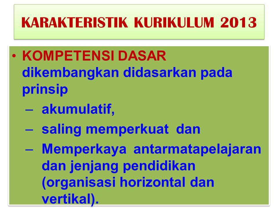 KARAKTERISTIK KURIKULUM 2013 KOMPETENSI DASAR dikembangkan didasarkan pada prinsip –akumulatif, –saling memperkuat dan –Memperkaya antarmatapelajaran