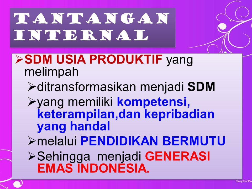 TANTANGAN INTERNAL TANTANGAN INTERNAL  SDM USIA PRODUKTIF yang melimpah  ditransformasikan menjadi SDM  yang memiliki kompetensi, keterampilan,dan