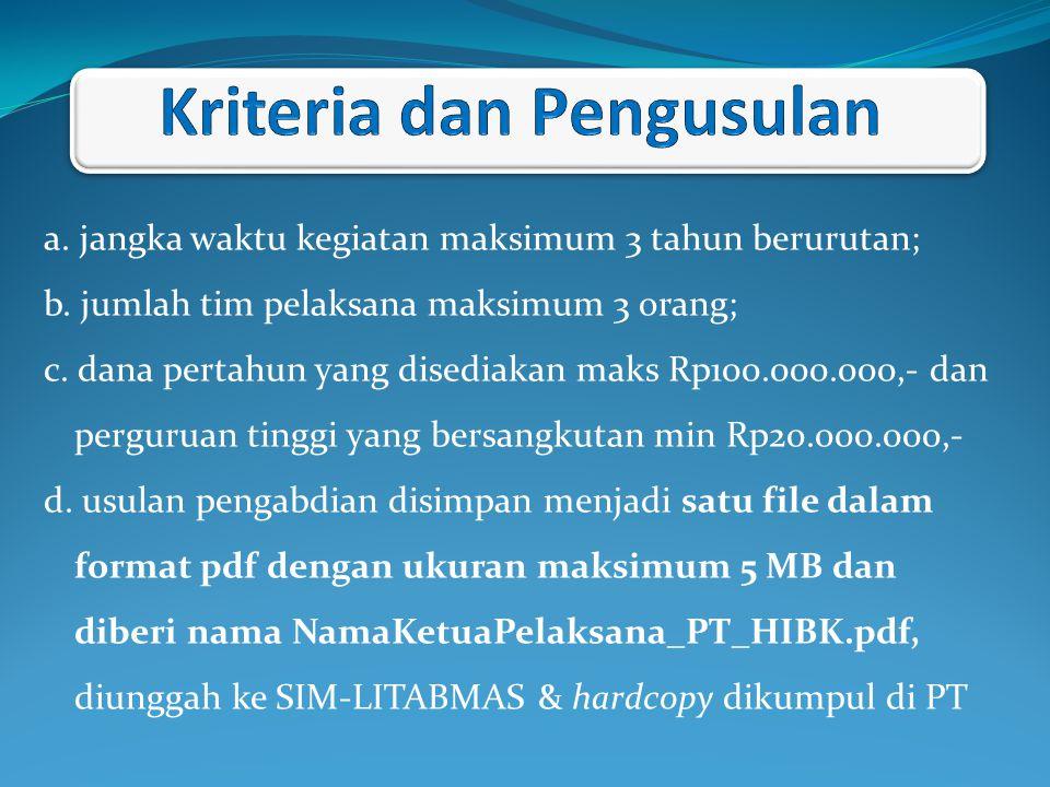 a. jangka waktu kegiatan maksimum 3 tahun berurutan; b. jumlah tim pelaksana maksimum 3 orang; c. dana pertahun yang disediakan maks Rp100.000.000,- d