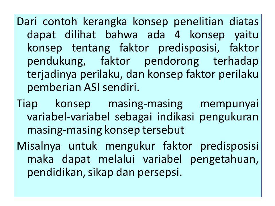 Dari contoh kerangka konsep penelitian diatas dapat dilihat bahwa ada 4 konsep yaitu konsep tentang faktor predisposisi, faktor pendukung, faktor pend