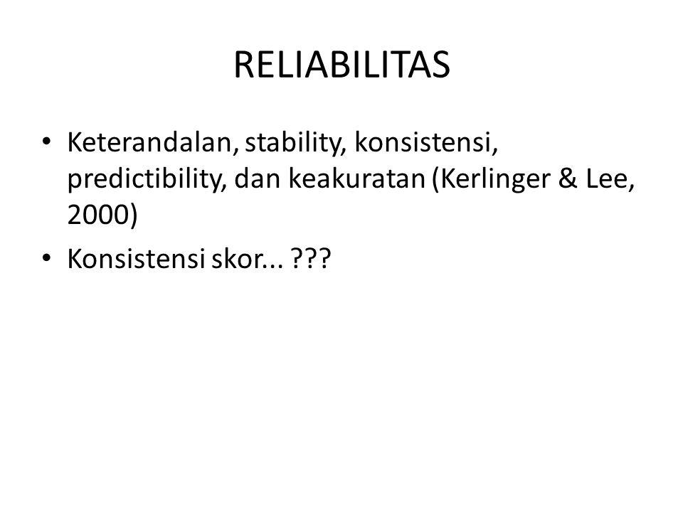 Teknik-teknik Reliabilitas I.
