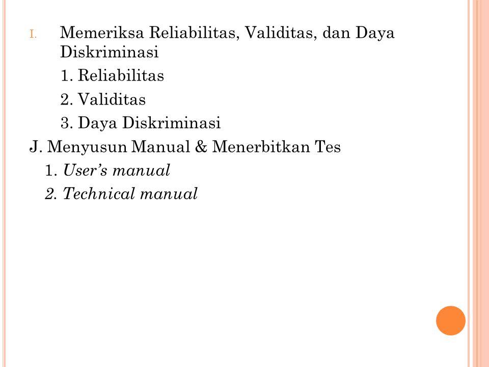 I. Memeriksa Reliabilitas, Validitas, dan Daya Diskriminasi 1. Reliabilitas 2. Validitas 3. Daya Diskriminasi J. Menyusun Manual & Menerbitkan Tes 1.