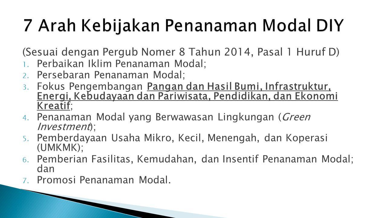 (Sesuai dengan Pergub Nomer 8 Tahun 2014, Pasal 1 Huruf D) 1. Perbaikan Iklim Penanaman Modal; 2. Persebaran Penanaman Modal; 3. Fokus Pengembangan Pa