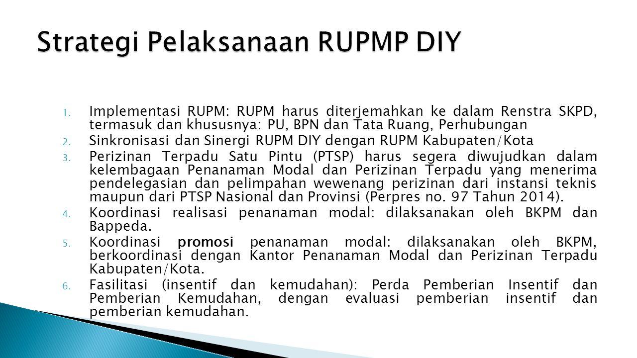1. Implementasi RUPM: RUPM harus diterjemahkan ke dalam Renstra SKPD, termasuk dan khususnya: PU, BPN dan Tata Ruang, Perhubungan 2. Sinkronisasi dan