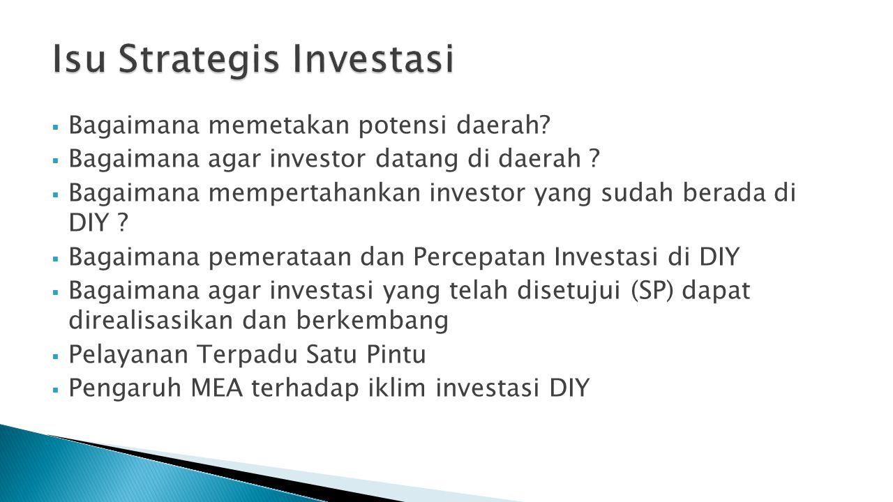  Bagaimana memetakan potensi daerah?  Bagaimana agar investor datang di daerah ?  Bagaimana mempertahankan investor yang sudah berada di DIY ?  Ba