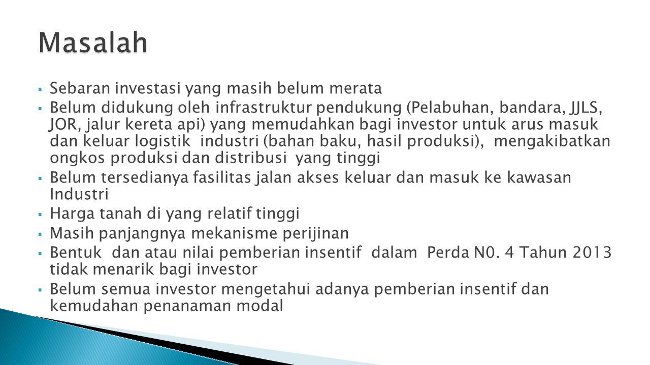  Sebaran investasi yang masih belum merata  Belum didukung oleh infrastruktur pendukung (Pelabuhan, bandara, JJLS, JOR, jalur kereta api) yang memud