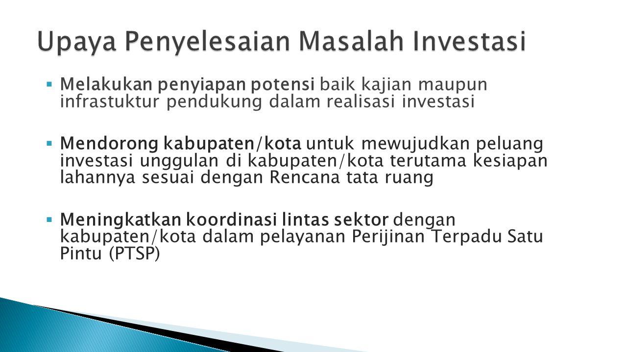  Melakukan penyiapan potensi baik kajian maupun infrastuktur pendukung dalam realisasi investasi  Mendorong kabupaten/kota untuk mewujudkan peluang
