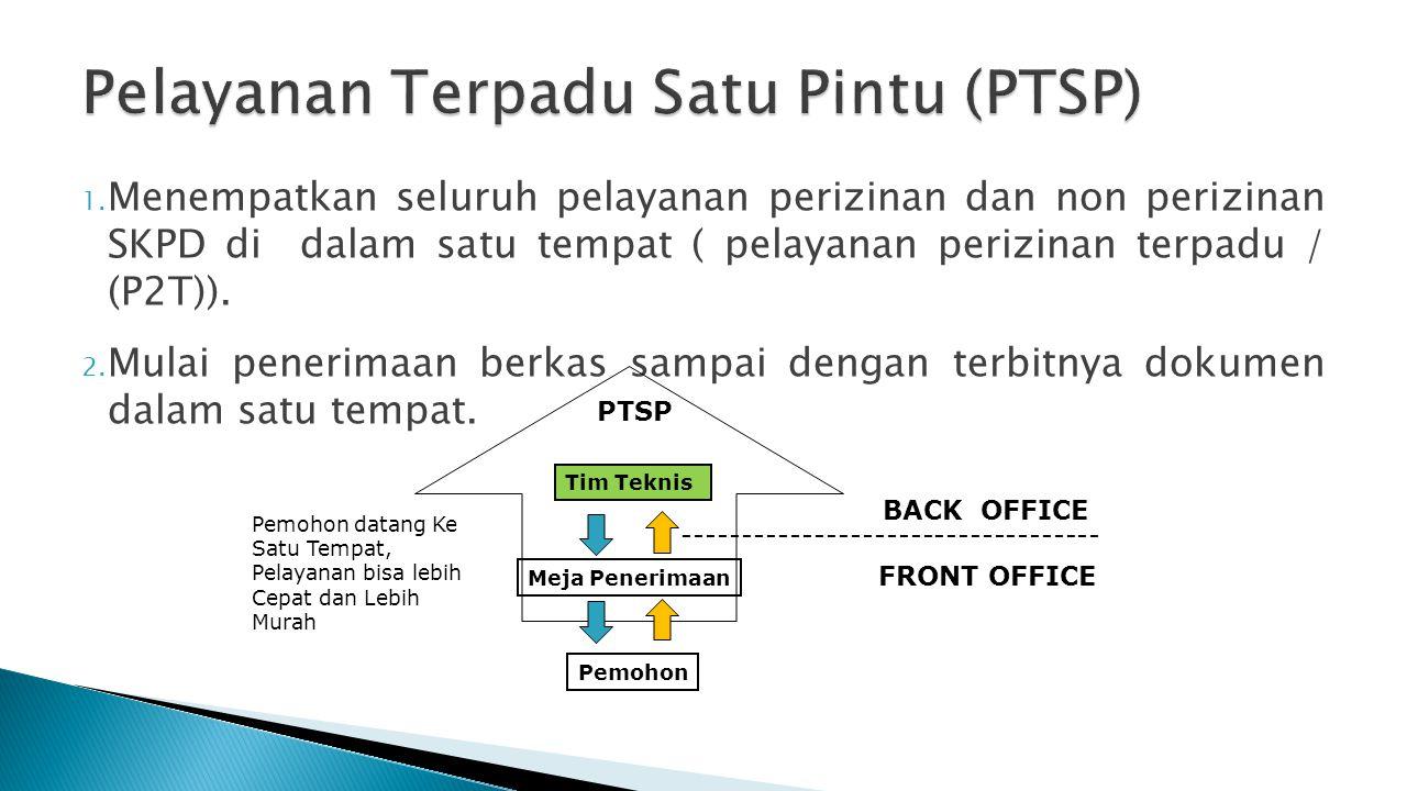 1. Menempatkan seluruh pelayanan perizinan dan non perizinan SKPD di dalam satu tempat ( pelayanan perizinan terpadu / (P2T)). 2. Mulai penerimaan ber