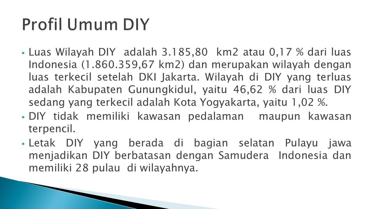 Luas Wilayah DIY adalah 3.185,80 km2 atau 0,17 % dari luas Indonesia (1.860.359,67 km2) dan merupakan wilayah dengan luas terkecil setelah DKI Jakar