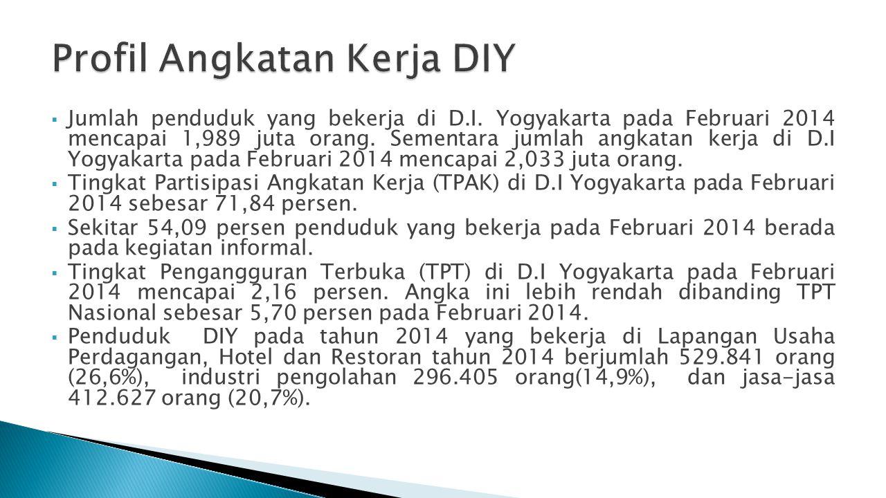  Jumlah penduduk yang bekerja di D.I. Yogyakarta pada Februari 2014 mencapai 1,989 juta orang. Sementara jumlah angkatan kerja di D.I Yogyakarta pada