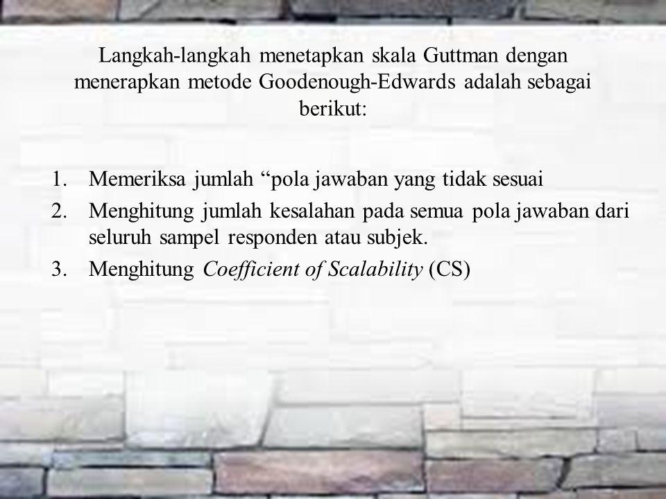 "Langkah-langkah menetapkan skala Guttman dengan menerapkan metode Goodenough-Edwards adalah sebagai berikut: 1.Memeriksa jumlah ""pola jawaban yang tid"
