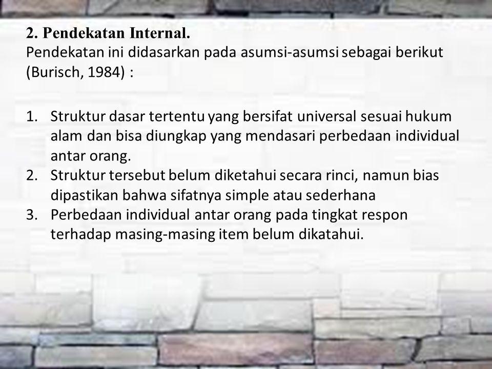 2. Pendekatan Internal. Pendekatan ini didasarkan pada asumsi-asumsi sebagai berikut (Burisch, 1984) : 1.Struktur dasar tertentu yang bersifat univers