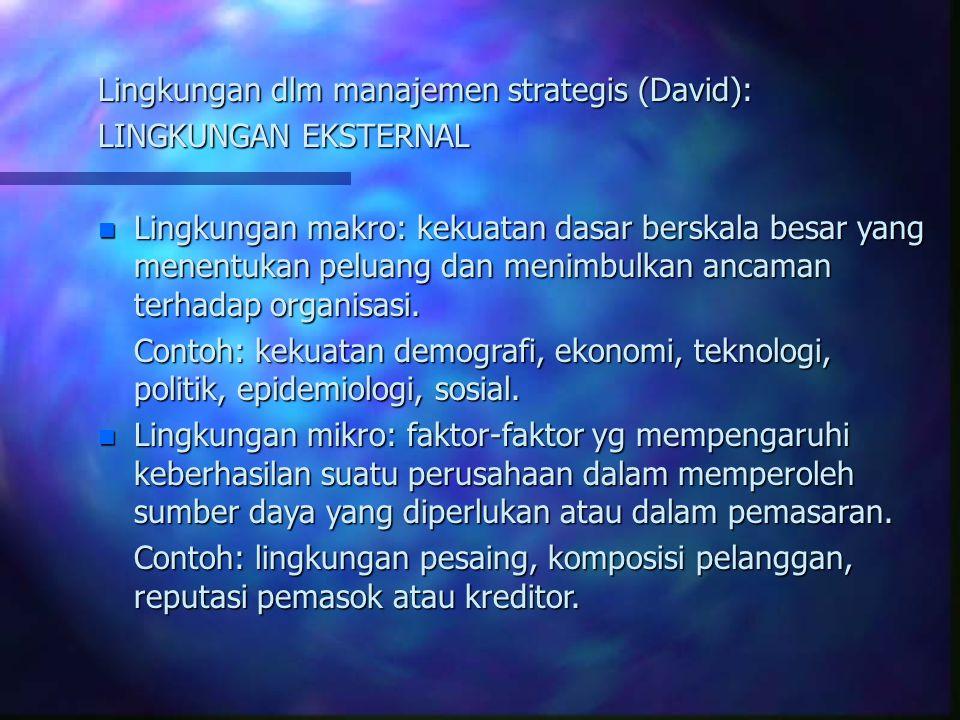 Lingkungan dlm manajemen strategis (David): LINGKUNGAN EKSTERNAL n Lingkungan makro: kekuatan dasar berskala besar yang menentukan peluang dan menimbulkan ancaman terhadap organisasi.