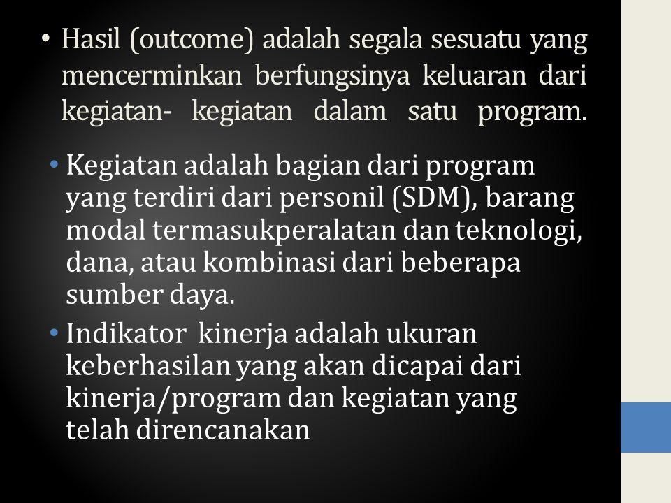 Hasil (outcome) adalah segala sesuatu yang mencerminkan berfungsinya keluaran dari kegiatan- kegiatan dalam satu program.