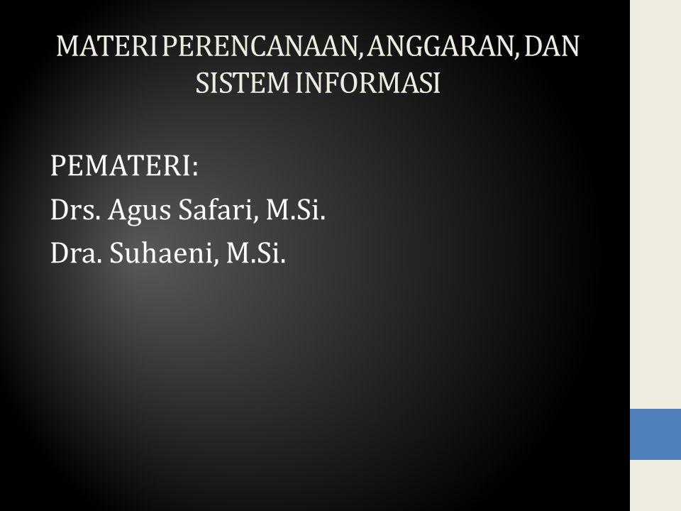 MATERI PERENCANAAN, ANGGARAN, DAN SISTEM INFORMASI PEMATERI: Drs.