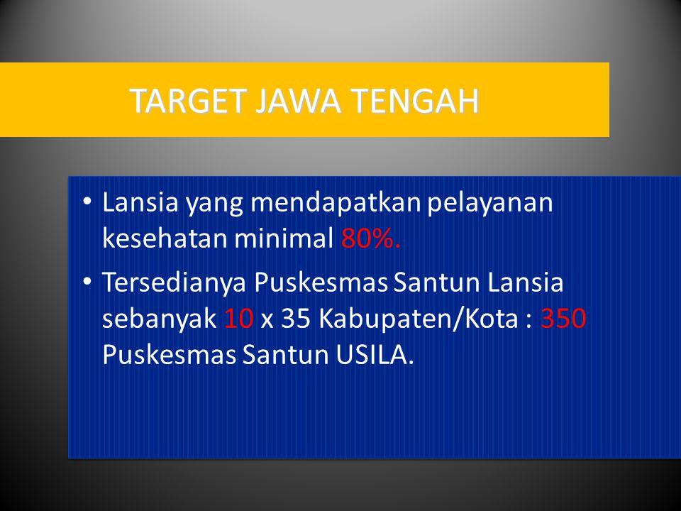 TARGET JAWA TENGAH Lansia yang mendapatkan pelayanan kesehatan minimal 80%.