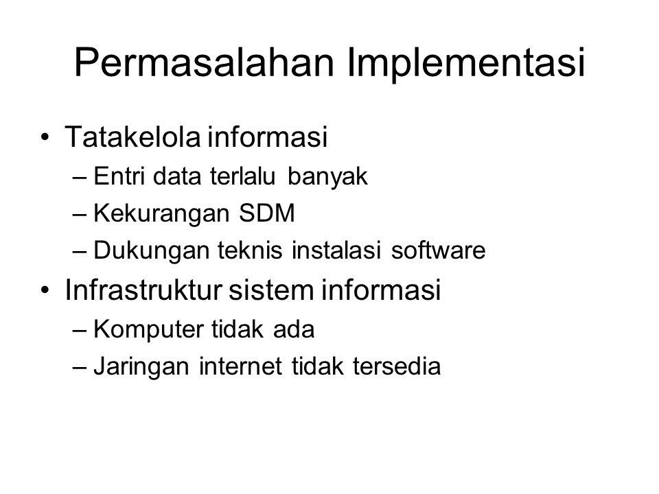 Permasalahan Implementasi Tatakelola informasi –Entri data terlalu banyak –Kekurangan SDM –Dukungan teknis instalasi software Infrastruktur sistem inf
