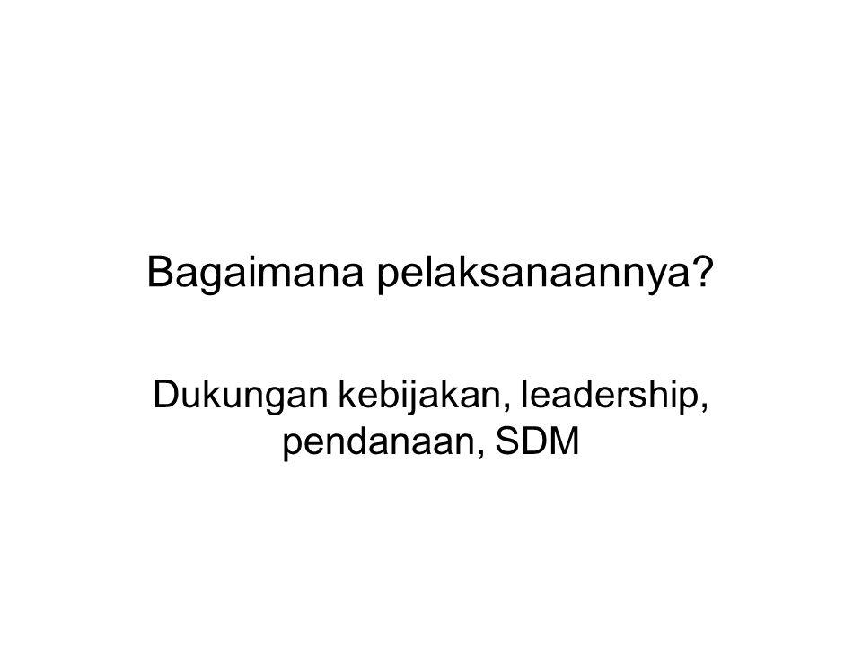 Bagaimana pelaksanaannya? Dukungan kebijakan, leadership, pendanaan, SDM