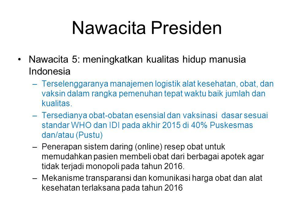 Nawacita Presiden Nawacita 5: meningkatkan kualitas hidup manusia Indonesia –Terselenggaranya manajemen logistik alat kesehatan, obat, dan vaksin dala