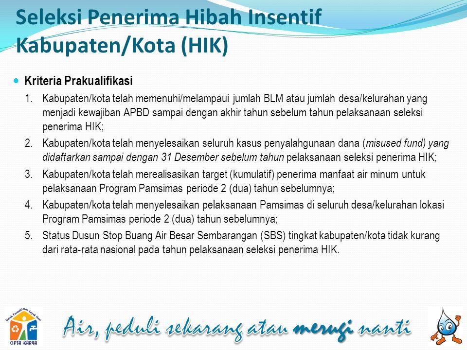 Seleksi Penerima Hibah Insentif Kabupaten/Kota (HIK) Penilaian Proposal Kabupaten/Kota 1.