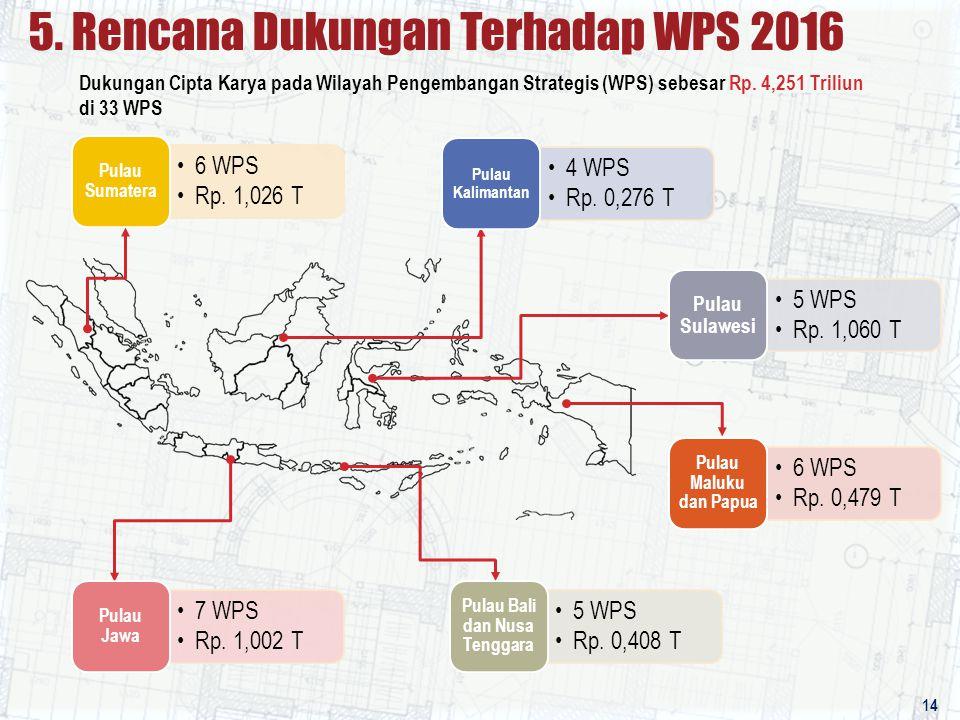 6 WPS Rp. 1,026 T Pulau Sumatera 5. Rencana Dukungan Terhadap WPS 2016 14 4 WPS Rp. 0,276 T Pulau Kalimantan 5 WPS Rp. 1,060 T Pulau Sulawesi 6 WPS Rp