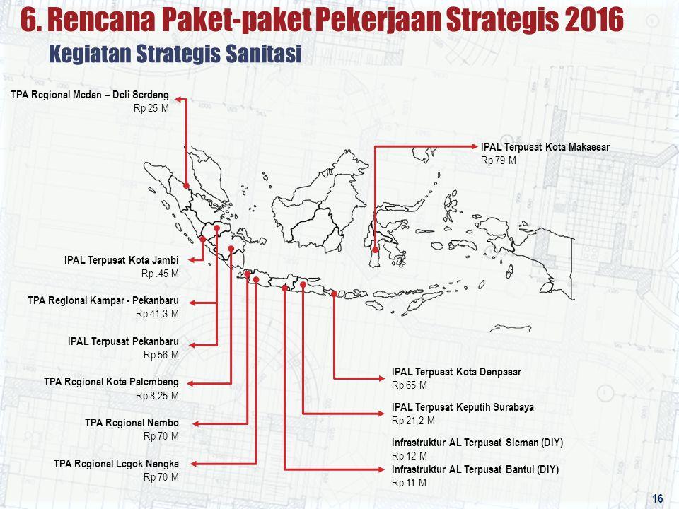 TPA Regional Medan – Deli Serdang Rp 25 M Kegiatan Strategis Sanitasi 6. Rencana Paket-paket Pekerjaan Strategis 2016 16 IPAL Terpusat Kota Jambi Rp.4