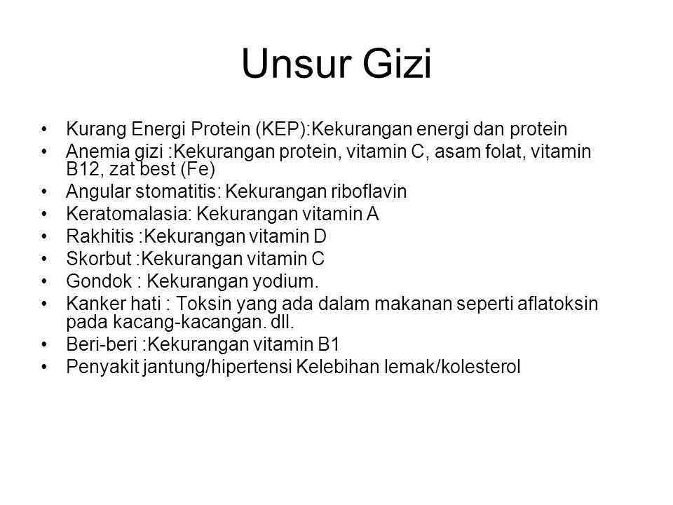 Unsur Gizi Kurang Energi Protein (KEP):Kekurangan energi dan protein Anemia gizi :Kekurangan protein, vitamin C, asam folat, vitamin B12, zat best (Fe