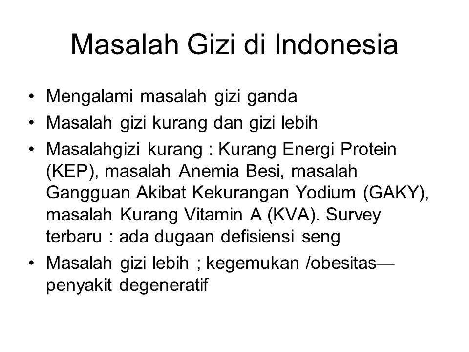 Masalah Gizi di Indonesia Mengalami masalah gizi ganda Masalah gizi kurang dan gizi lebih Masalahgizi kurang : Kurang Energi Protein (KEP), masalah An