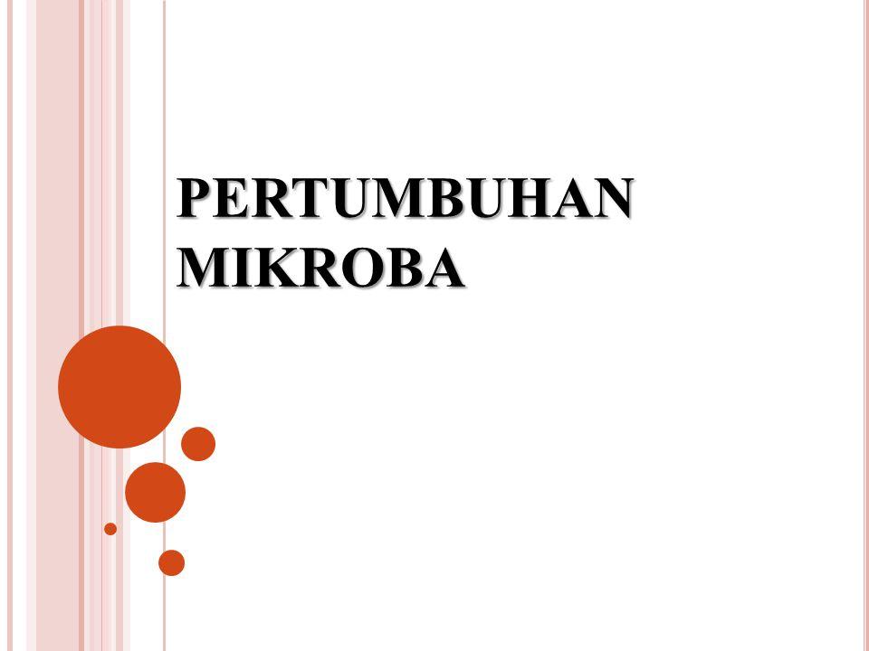 T EMPERATUR OPTIMUM UNTUK PERTUMBUHAN MIKROBA Psikropiles (dingin) : 0 C - 20 C, optimum 15 C Mesopiles (moderat) : 20 C - 40 C Termopiles (panas) : 40 C - 100 C