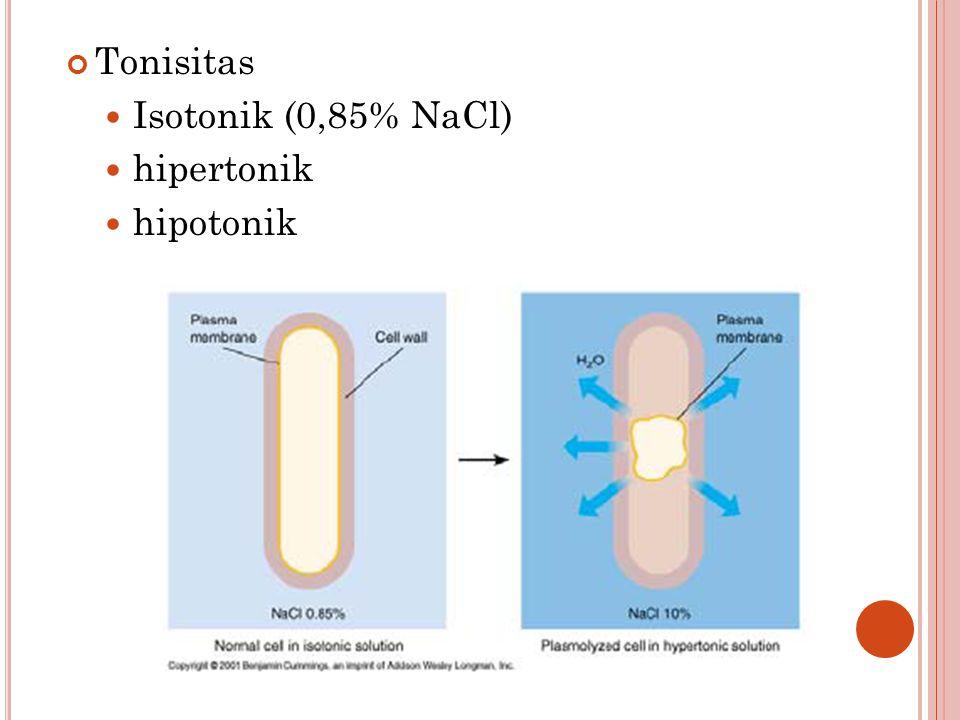 Tonisitas Isotonik (0,85% NaCl) hipertonik hipotonik