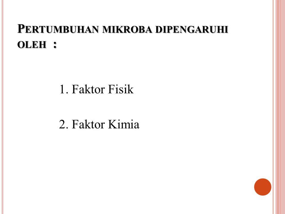 P ERTUMBUHAN MIKROBA DIPENGARUHI OLEH : 1. Faktor Fisik 2. Faktor Kimia