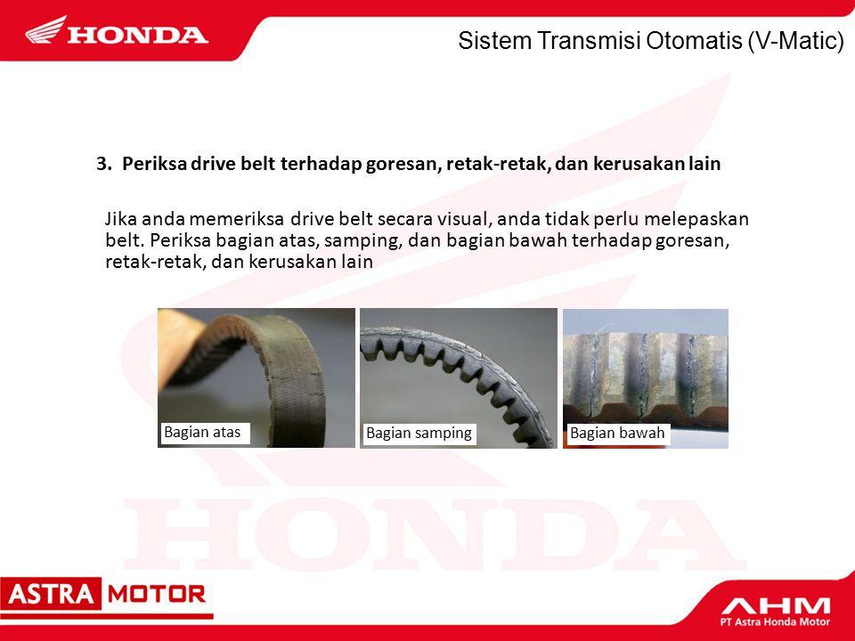Sistem Transmisi Otomatis (V-Matic) Jika anda memeriksa drive belt secara visual, anda tidak perlu melepaskan belt.