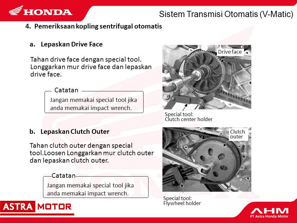Sistem Transmisi Otomatis (V-Matic) Tahan drive face dengan special tool.