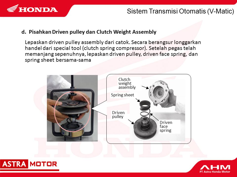 Sistem Transmisi Otomatis (V-Matic) Lepaskan driven pulley assembly dari catok.